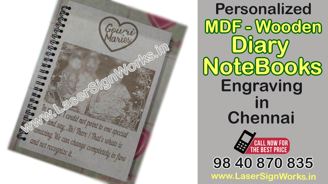 Personalised MDF Diary, Notebook Spiral Engraving Service Chennai