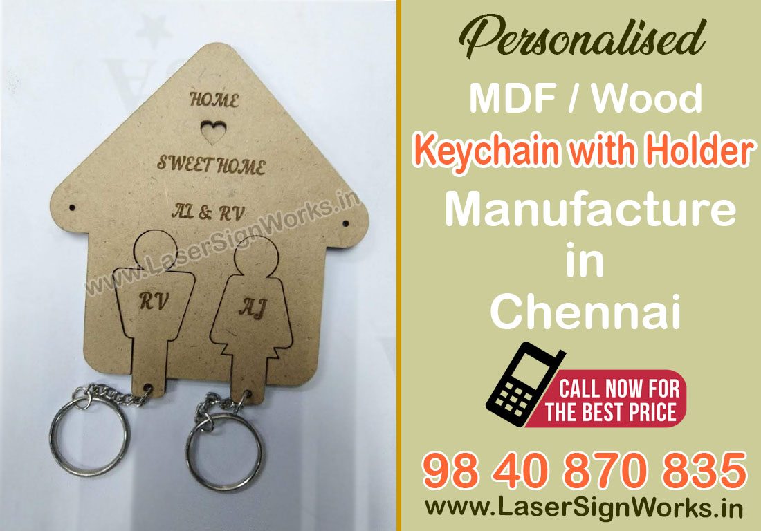 MDF Wooden Keychain with Holder Manufacturers in Chennai